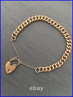 Antique Rose Gold Bracelet Heart 9ct Chain Charm Edwardian Victorian Padlock
