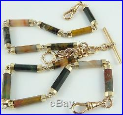 Antique Scottish agate set 9ct gold double albert watch guard chain