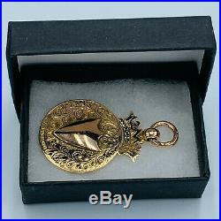 Antique Solid 375 9ct Gold Double Sided Watch Chain Fob L37