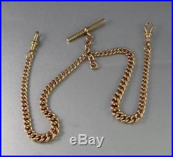 Antique Solid 9Ct Gold Graduated Double Albert Watch Chain / Necklace 44.5g