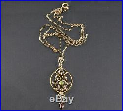 Antique Suffragette 9Ct Gold Pendant Peridot, Amethyst & Pearl On Gold Chain