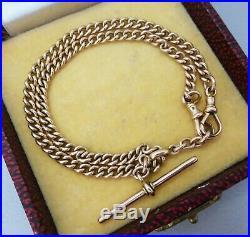 Antique VICTORIAN 9ct ROSE GOLD Curb ALBERT FOB CHAIN 14 Choker or Bracelet