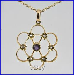 Antique Victorian 15ct Gold Amethyst & Seed Pearl Pendant & 9ct Gold Chain c1880