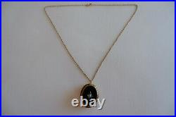 Antique Victorian 15ct Gold Onyx Mourning Locket / Brooch, Gold Chain C1880's