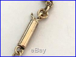 Antique Victorian 1890s 9 ct gold barrel end chain necklace. 16 1/2