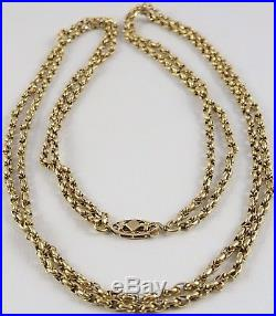 Antique Victorian 43 inch long 9ct gold watch guard chain. Weighs 15 grams
