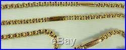 Antique Victorian 56 inch long 9ct gold watch guard chain 27.1 grams