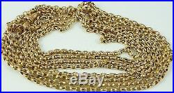 Antique Victorian 58 inch long 9ct gold guard chain 14 grams
