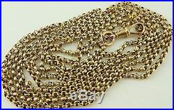 Antique Victorian 58 inch long full length 9ct gold watch guard chain 24.9 grams