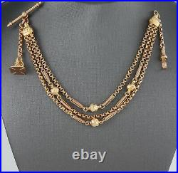Antique Victorian 9Ct Gold Albertina Watch Chain / Bracelet With Fob
