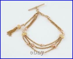 Antique Victorian 9Ct Gold Albertina Watch Chain / Bracelet With Tassel Fob