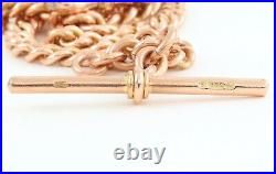 Antique Victorian 9Ct Rose Gold Graduated Double Albert Watch Chain 16 1/2'