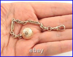 Antique Victorian 9Ct Rosey Gold Pocket Watch Fob Chain With Ball Fob