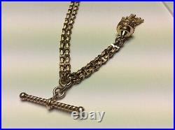 Antique Victorian 9ct Gold Albertina Watch Chain Tassel & Twisted Tbar 23.5g