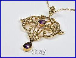 Antique Victorian 9ct Gold Amethyst Seed Pearl Lavaliere Pendant & Chain, c1880