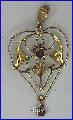 Antique Victorian 9ct Gold'Angel Wings' With Rubellite Tourmaline + 17 Chain