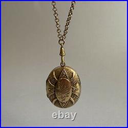 Antique Victorian 9ct Gold B&F Locket Pendant Swallow 20.35g & Long Guard Chain