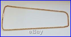 Antique Victorian 9ct Gold Barrel Clasp Ribbed Round Link Chain Necklace c1880