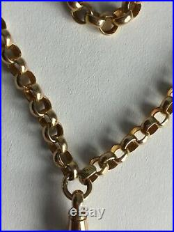 Antique Victorian 9ct Gold Belcher Link Guard Or Muff Chain Necklace 57 30.1g
