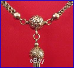 Antique Victorian 9ct Gold Chain Ball Orb Tassels Fob Pendant Necklace Engraved