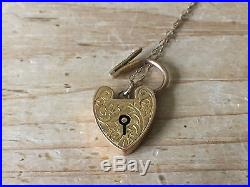 Antique Victorian 9ct Gold Heart Padlock Necklace Pendant Engraved Trace Chain