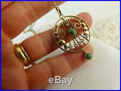Antique Victorian 9ct Gold Lavalier Turquoise & Pearl Pendant & Chain
