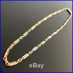 Antique Victorian 9ct Gold Rope and Bar Link Chain Necklace 171/2 16.9g #129