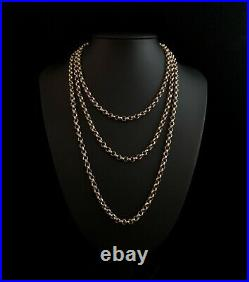Antique Victorian 9ct gold longuard chain, muff chain necklace