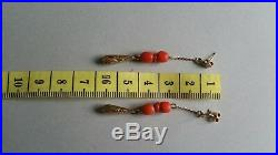 Antique Victorian Calved Design 9ct Gold Natural Coral Drop Chain Earrings