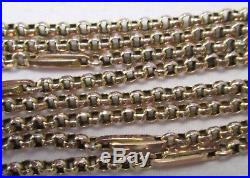Antique Victorian Chunky 9ct Gold Belcher Barrel Clasp Chain Necklace 78cm 13.8g