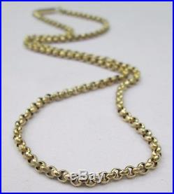 Antique Victorian Chunky 9ct Gold Belcher Chain Necklace Barrel Clasp 45cm 8.2g