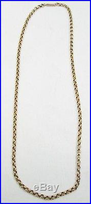 Antique Victorian Chunky 9ct Gold Belcher Chain Necklace Barrel Clasp 46cm 7.9g