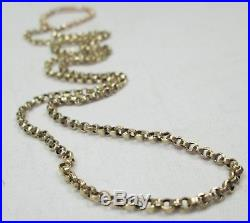 Antique Victorian Chunky 9ct Gold Belcher Chain Necklace Barrel Clasp 53cm 5.6g
