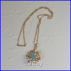 Antique Victorian Edwardian 9ct Gold Seed Pearl Turquoise Star Pendant Chain
