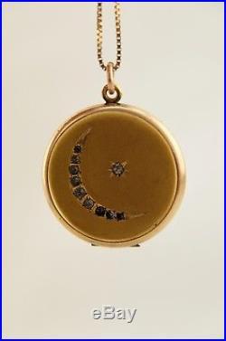 Antique Victorian GF Paste Crescent Moon Locket Pendant with 9ct 375 Gold chain