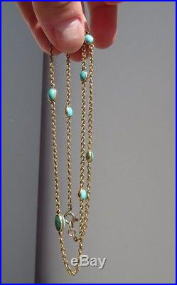 Antique Victorian Natural Turquoise & 9ct Gold Chain Necklace