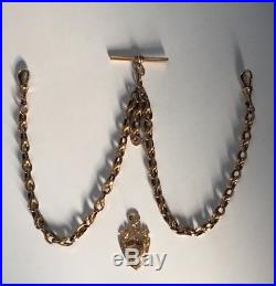 Antique Victorian Solid 9ct Gold Double Albert Watch Chain