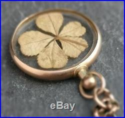 Antique Victorian gold shamrock pendant, 9ct gold, belcher chain