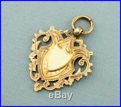 Antique Vintage 9ct Gold Engraved Albert Chain Fob Medal 1923