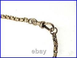 Antique Watch Chain 9 Carat Yellow Gold Decorative Belcher 15 T-Bar Albert End