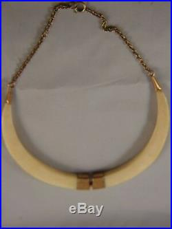 Antique Wild Boar Tusks Trophy Necklace w 9ct. Rose Gold Fitting & Chain 1900's