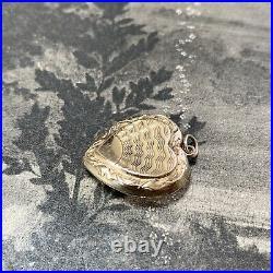 Art Deco Vintage 9ct Gold Heart Locket Engraved Pendant 4 Chain Necklace 3.2 gms