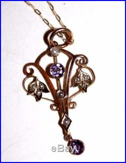 Art Nouveau 9 ct gold amethyst and seed pearl pendent on 20 chain antique