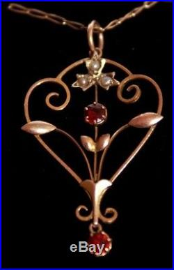 Art Nouveau 9 ct gold garnet seed pearl pendent 16 chain vintage Edwardian