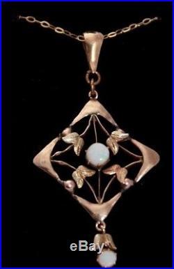 Art Nouveau 9 ct gold opal pendent on 20 chain antique vintage Edwardian