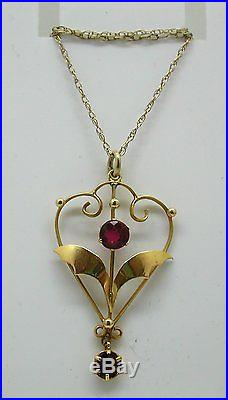 Art Nouveau 9ct Gold And Pink Tourmaline Pendant And Chain