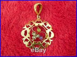 Art Nouveau Brit. Suffragette 9ct Gold Amethyst Peridot Seed Pearl Pendant+chain