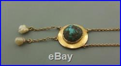 Arts & Crafts 9ct Gold Chain And Turquoise Pendant