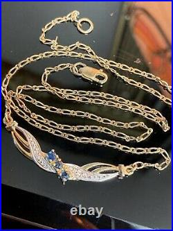 Attractive 9ct Gold Blue Sapphire & Diamond Necklace, Condition Is NEW
