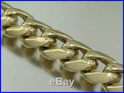 B022 Genuine 9ct 9K SOLID Gold Thick Bevelled Curblink Bracelet Heavy Mens